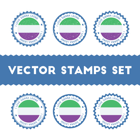 I Love Sierra Leone vector stamps set. Retro patriotic country flag badges. National flags vintage round signs. Çizim