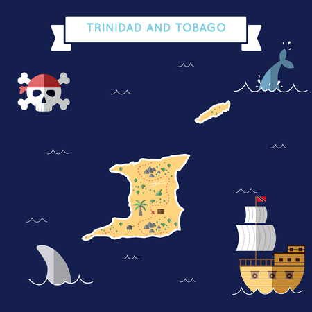 Flat treasure map of Trinidad and Tobago. Colorful cartoon with icons of ship, jolly roger, treasure chest and banner ribbon. Flat design vector illustration.