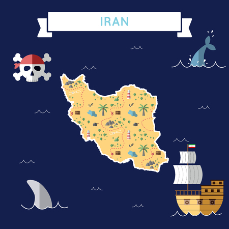 Flat treasure map of Iran, Islamic Republic Of. Colorful cartoon with icons of ship, jolly roger, treasure chest and banner ribbon. Flat design vector illustration. Illustration