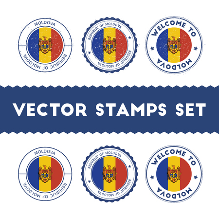 Moldovan flag rubber stamps set. National flags grunge stamps. Country round badges collection.
