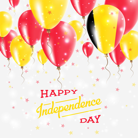 Belgium Vector Patriotic Poster. Independence Day Placard with Bright Colorful Balloons of Country National Colors. Belgium Independence Day Celebration.