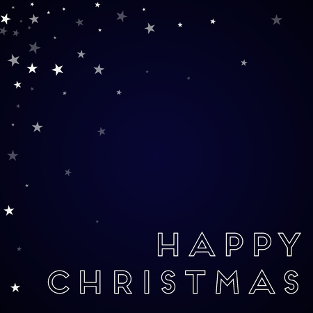 Happy Christmas greeting card. Random falling stars background. Random falling stars on deep blue background. Delightful vector illustration.