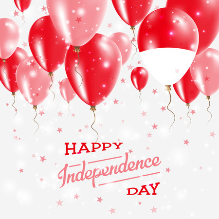 Indonesia Vector Patriotic Poster. Independence Day Placard with Bright Colorful Balloons of Country National Colors. Indonesia Independence Day Celebration.