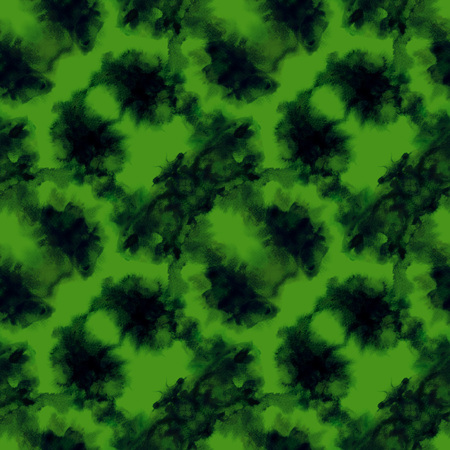 Green splashes pattern. Watercolor abstract seamless pattern. Background with scattered green splashes and stains. Hand painted awesome tile of loose expressive paint blots. 12.