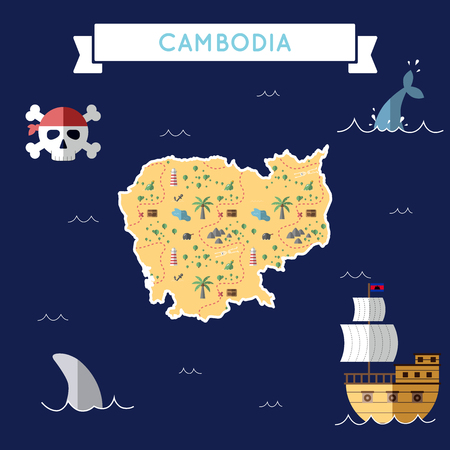 Flat treasure map of Cambodia. Colorful cartoon with icons of ship, jolly roger, treasure chest and banner ribbon. Flat design vector illustration.