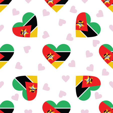 Mozambique independence day seamless pattern. Patriotic background with country national flag in the shape of heart. Vector illustration.
