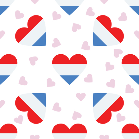 Luxembourg independence day seamless pattern. Patriotic background with country national flag in the shape of heart. Vector illustration.