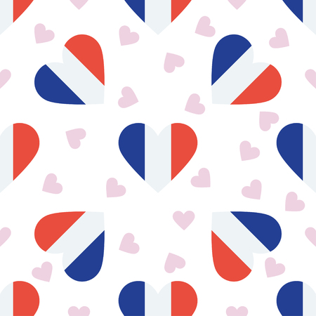 Wallis and Futuna independence day seamless pattern. Patriotic background with country national flag in the shape of heart. Vector illustration. Illustration
