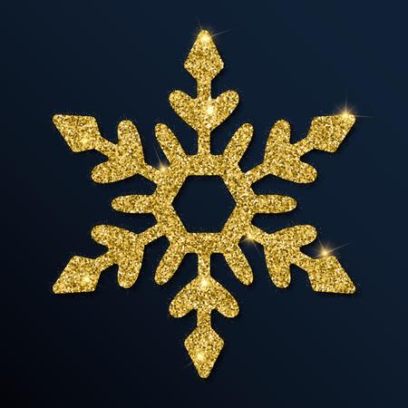Golden glitter fetching snowflake. Luxurious Christmas design element, vector illustration. Illustration