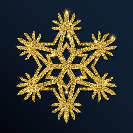 Golden glitter unusual snowflake. Luxurious Christmas design element, vector illustration.