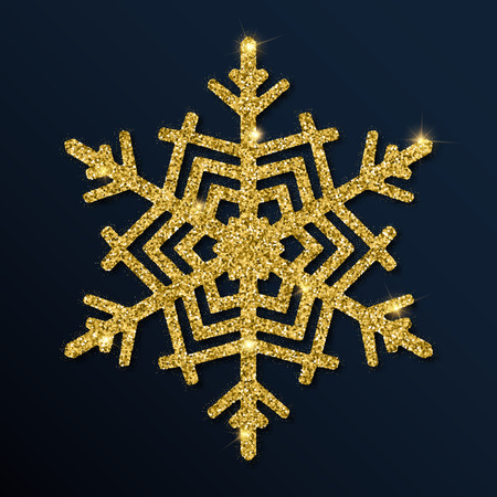 Golden glitter magnetic snowflake. Luxurious Christmas design element, vector illustration. Illustration
