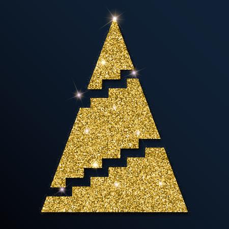 Golden glitter elegant Christmas tree. Luxurious Christmas design element, vector illustration.