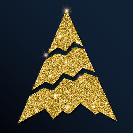 Golden glitter cool Christmas tree. Luxurious Christmas design element, vector illustration.