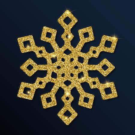 Golden glitter attractive snowflake. Luxurious christmas design element, vector illustration.
