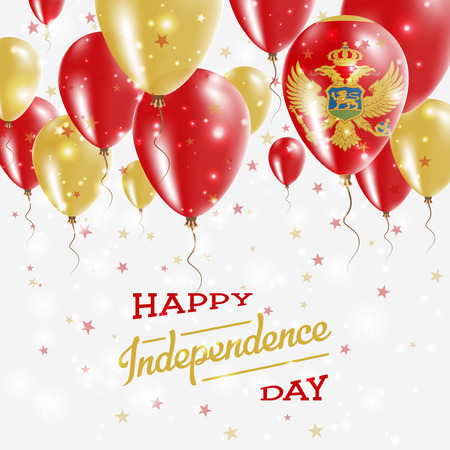 Montenegro vector patriotic poster. Independence day placard with bright colorful balloons of country national colors. Montenegro Independence Day celebration.