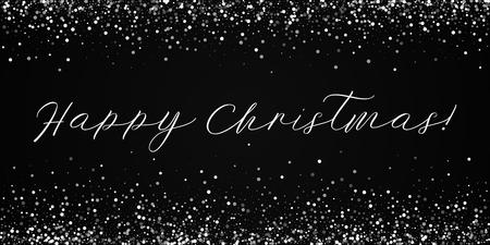 Happy Christmas greeting card. Random falling white dots background. Random falling white dots on black background.cool vector illustration.