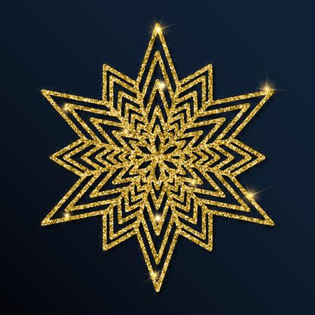 Golden glitter splendid snowflake. Luxurious christmas design element, vector illustration.
