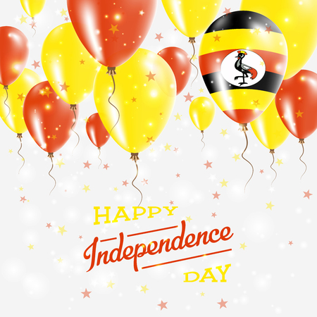 Uganda Vector Patriotic Poster. Independence Day Placard with Bright Colorful Balloons of Country National Colors. Uganda Independence Day Celebration. Vettoriali