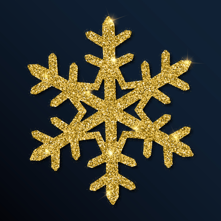 Golden glitter gorgeous snowflake. Luxurious Christmas design element, vector illustration.