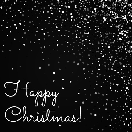 Happy Christmas greeting card. Random falling white dots background. Random falling white dots on black background. Unique vector illustration.