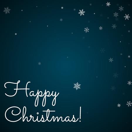Happy Christmas greeting card. Sparse snowfall background. Sparse snowfall on blue background. Illustration