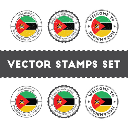 Mozambican flag rubber stamps set. National flags grunge stamps. Country round badges collection.