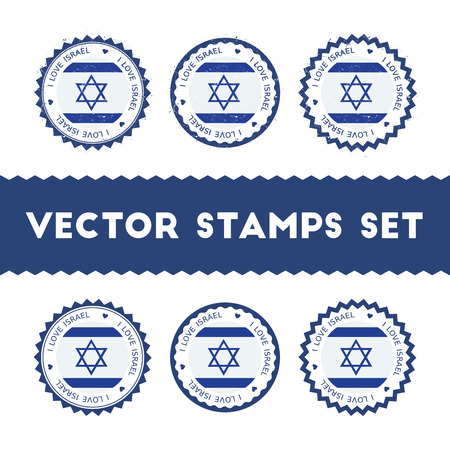 I Love Israel vector stamps set. Retro patriotic country flag badges. National flags vintage round signs.