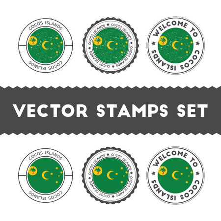 Cocos Islander flag rubber stamps set. National flags grunge stamps. Country round badges collection. Illustration