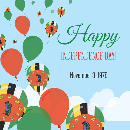 Independence Day Flat Greeting Card. Dominica Independence Day. Dominican Flag Balloons Patriotic Poster. Happy National Day Vector Illustration. Illustration