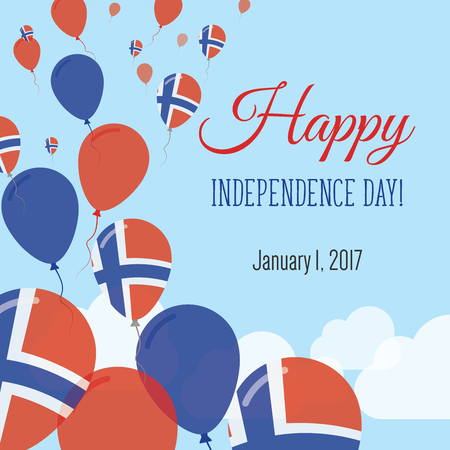 Independence Day Flat Greeting Card. Svalbard and Jan Mayen Independence Day. Norwegian Flag Balloons Patriotic Poster. Happy National Day Vector Illustration.