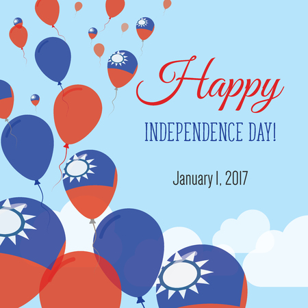 Independence Day Flat Greeting Card. Taiwan, Republic Of China Independence Day. Taiwanese Flag Balloons Patriotic Poster. Happy National Day Vector Illustration.