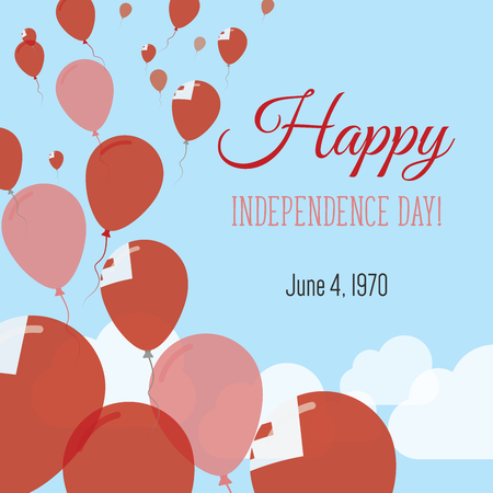 Independence Day Flat Greeting Card. Tonga Independence Day. Tongan Flag Balloons Patriotic Poster. Happy National Day Vector Illustration.