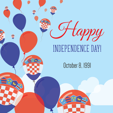 Independence Day Flat Greeting Card. Croatia Independence Day. Croatian Flag Balloons Patriotic Poster. Happy National Day Vector Illustration. Ilustração