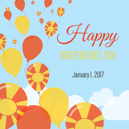 Independence Day Flat Greeting Card. Former Yugoslav Republic of Macedonia Independence Day. Macedonian Flag Balloons Patriotic Poster. Happy National Day Vector Illustration. Illustration