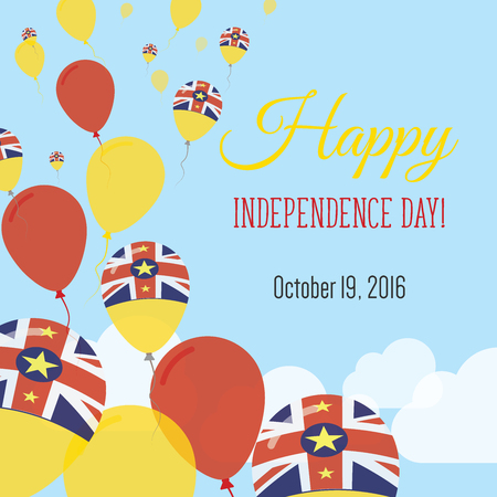 Independence Day Flat Greeting Card. Niue Independence Day. Niuean Flag Balloons Patriotic Poster. Happy National Day Vector Illustration.