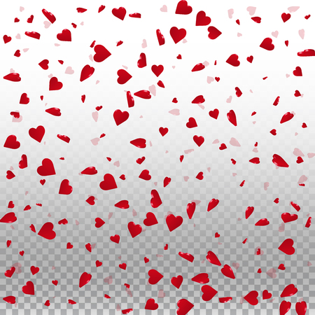 3d hearts valentine background. Scattered pattern on transparent grid light background. 3d hearts valentines day unusual design. Vector illustration.