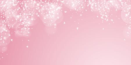 Falling hearts valentine background. Falling rain on pink background. Falling hearts valentines day overwhelming design. Vector illustration.