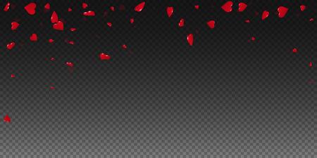3d harten valentijnskaartachtergrond. Vallende regen op transparante raster donkere achtergrond. 3d hart Valentijnsdag fascinerend ontwerp. Vector illustratie