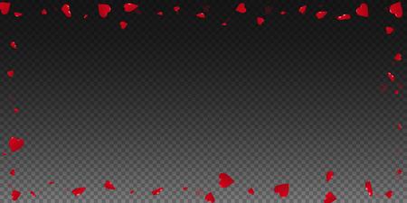 3d hearts valentine background. Wide scattered frame on transparent grid dark background. 3d hearts valentines day fascinating design. Vector illustration.