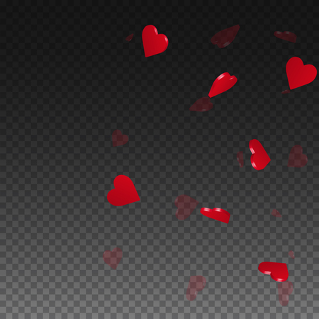 3d hearts valentine background. Right gradient on transparent grid dark background. 3d hearts valentines day magnificent design. Vector illustration. 向量圖像