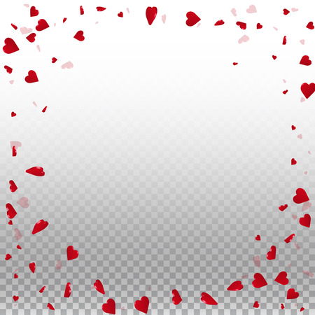 3d hearts valentine background. Round random frame on transparent grid light background. 3d hearts valentines day overwhelming design. Vector illustration. Illusztráció