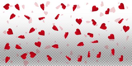 3d hearts valentine background. Wide scatter on transparent grid light background. 3d hearts valentines day fantastic design. Vector illustration.
