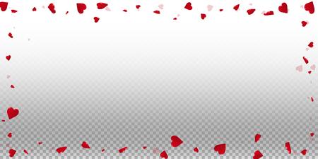 3d hearts valentine background. Wide scattered frame on transparent grid light background. 3d hearts valentines day favorable design. Vector illustration. Ilustrace