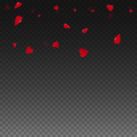 3d hearts valentine background. Scatter top gradient on transparent grid dark background. 3d hearts valentines day stunning design. Vector illustration.