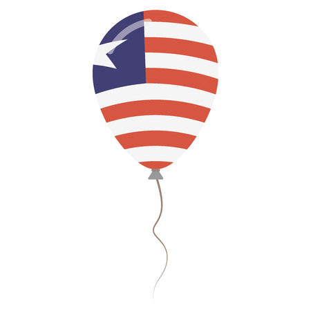Republic of Liberia national colors isolated balloon on white background. Independence day patriotic poster flat style National day vector illustration.
