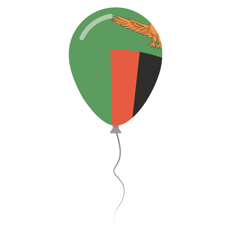 Republic of Zambia national colors isolated balloon on white background. Independence day patriotic poster. Flat style National day vector illustration. Illustration