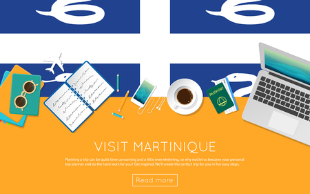 Visit Martinique concept for your web banner or print materials. Top view of a laptop, sunglasses and coffee cup on Martinique national flag. Flat style travel planninng website header.