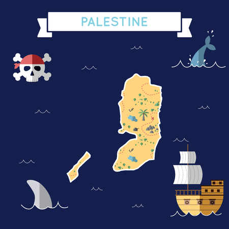 Flat treasure map of Palestine. Colorful cartoon with icons of ship, jolly roger, treasure chest and banner ribbon. Flat design vector illustration.