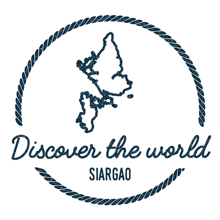 Siargao Map Outline. Vintage Discover the World Rubber Stamp with Island Map. Hipster Style Nautical Insignia, with Round Rope Border. Travel Vector Illustration.