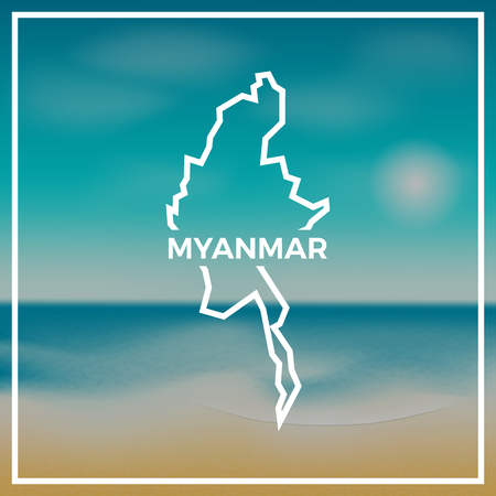Myanmar map rough outline against the backdrop of beach and tropical sea with bright sun.